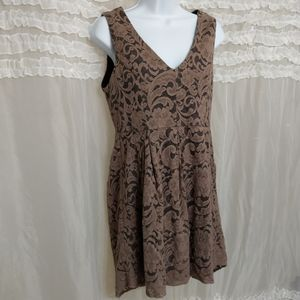 Monteau Lace Overlay High Low Tunic Dress